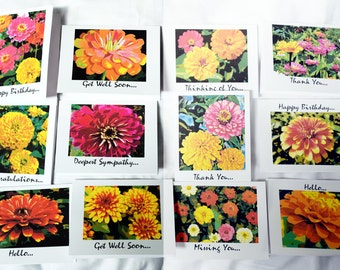 Painted Zinnias - Notecards