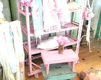 vintage stool shabby pink side table  stool farmhouse prairie