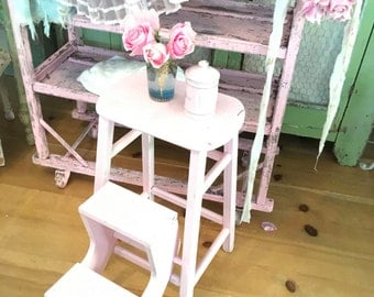 pink stool step stool chippy painted shabby chic stool farmhouse  prairie cottage