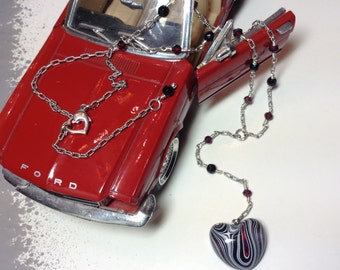 Fordite: Detroit Vintage Car Paint Heart Pendent on Sterling Silver chain with Black Onyx & Garnet Stations Y necklace