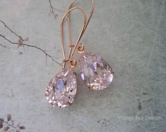 Soft Pink Teardrop Crystal Rose Gold Earrings - Created with sparkling Rosaline crystals from Swarovski®