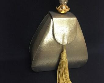 Vintage Gold Lame Warren Reed Box Tassel Purse 50's