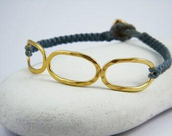 Gold macrame bracelet Hammered gold bracelet Woven Friendship bracelet  Hemp bracelet Gold oval loops bracelet