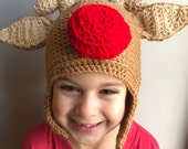 Crochet Red Nose Reindeer Hat child-adult