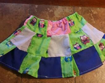 Patchwork owl skirt
