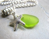 Sea Glass Anklet, Silver Chain Ankle Bracelet with Starfish and Bright Green Glass Charm, Seaglass Jewelry, Starfish Jewelry
