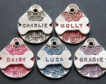 Small Dog ID Tag, Custom Dog Tags for Small Dogs, Hand Stamped Pet ID Tag, Handmade Dog Bone ID Tag