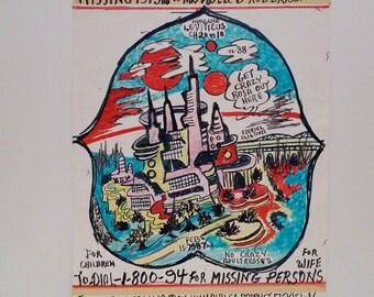 Prophet Royal Robertson Folk Art Drawing Futuristic City Outsider American Artist Self Taught Louisiana Vintage Art Brut 90's