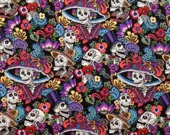 """EOB Clearance, 31"""" Fabric, Folklore Fabric, Catrina Chiquita by Alexander Folklorico Fabric, Mexican Fabric, Day of the Dead Fabric, 01062A"""