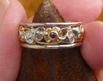 Heavy singed 14KT yellow and  white gold   Eternity Wedding Ring SIZE 8.5....Bezel set Natural Ruby...15 points total weight