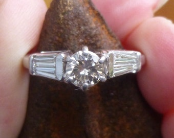 Antique Baguette diamond and fancy colored diamond mounted in 14KT  Wedding Ring.....One Carat total weight