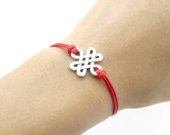 Antique Silver Knot Bracelet, Red String Bracelet, Waxed Cord Bracelet, Celtic Knot bracelet, Infinity Knot Bracelet