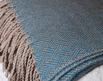 Silk and Baby Alpaca Handwoven Throw- Sea Glass