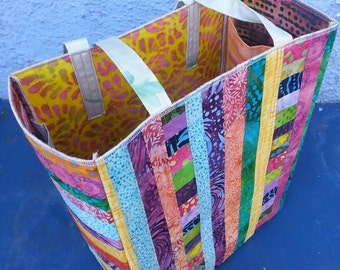 NEW Quilted tote bag handmade one of a kind OOAK batik cotton quilted panels firm interfacing strong sturdy large yoga bag shopping bag fun