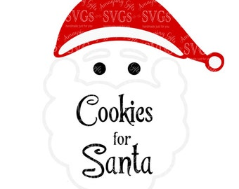 SVG - Cookies for Santa - Santa - Cookie Plate Design - Santa Cookie Plate - Christmas - Santa Claus - Holiday Gift Design - DXF - EPS