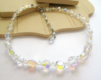 "Vintage Aurora Borealis Clear Crystal Bead 13""-15"" Length Choker Necklace H37"