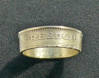 Bronze American Freedom Token turned into a Ring, Ring Size 7 1/2 and Double Sided