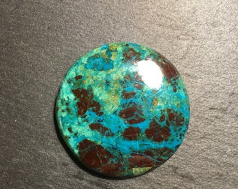 AAA quality round Azurite Malachite - flat back cabochon - for making jewelry - FabbyDabby Stones Item #17-010416