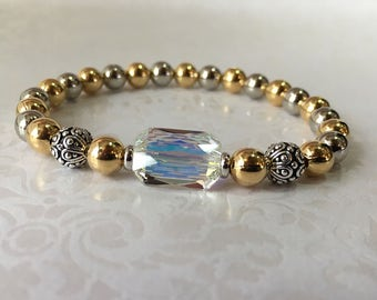 LIMITED EDITION Stainless Steel Bracelet Swarovski Elements,Beaded Bracelet Two Tone Gold & Silver Mothers Day Jewelry, Sister Gifts