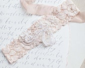 Ivory Beaded Wedding Garter in Blush Pink, Ivory or Nude Stretch Lace - Perfect Bridal Garter Belt to finish a slim wedding dress