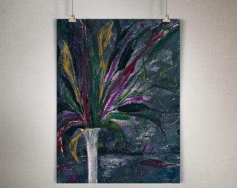 """Plant Study 0003 PAINTING on CANVAS SHEET 12"""" x 16"""", Snake Plant, Sansevieria, Charcoal Background, Multi Color Leaves, White Skinny Vase"""
