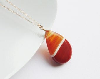 Red orange yellow white carnelian agate gemstone wire wrapped teardrop pendant long 14k gold chain necklace