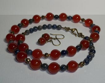 Carnelian Necklace and Earrings. Carnelian and Sodalite. Red and Blue Jewelry Set. Stone Necklace and Earrings. Career Wear. Patriotic.