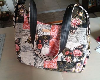 Expandable Shoulder Hobo Bag, Purse, Tote, Beige, Black, Pink, Polka Dots