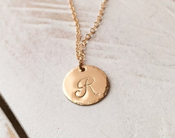 Initial Necklace, Personalized Gift, Circle Disc Necklace, Monogram Engraved Tag, Engraved Disc Necklace, Mothers Gift, Bridesmaid Gift