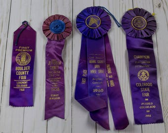 1950s 1960s Vintage Horse Show Ribbons Colorado State Fair Equestrian Western Home Decor Purple Blue Ombre