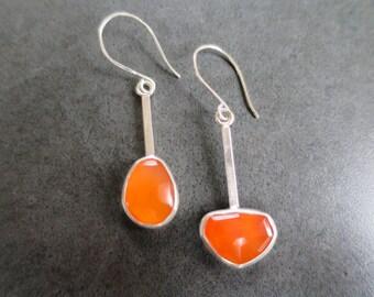 Carnelian Asymmetrical Earrings Sterling Silver