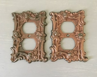 Vintage Metal Outlet Covers / Set of 2 French Floral Antique Brass With Copper Patina 1960s American Tack Architectural Salvage Hardware