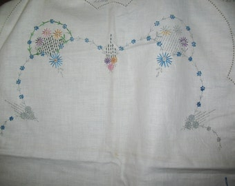 """Stamped Embroidery Fabric Scarf Wm H Molter Co. """"Busy Hour"""" Partly Embroidered"""