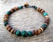Mens bracelet, genuine malachite and coconut shell beads, handmade tribal surfer style, on strong cord, toggle and loop clasp, green, OOAK