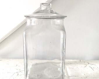Vintage Glass Jar Square Large with Lid Counter Display