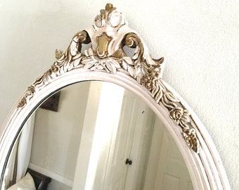 Vintage White Cream Mirror Oval Wood Frame Ornate