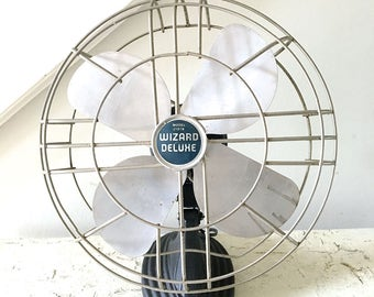Vintage Electric Fan Gray Wizard Deluxe