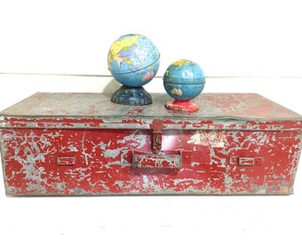 Metal Box Large Red Chippy Storage Box Industrial Metal