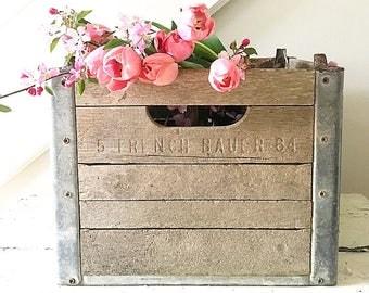 Vintage Milk Crate Wood and Metal Industrial Rustic