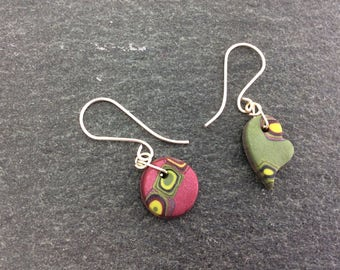 Mismatched earrings - polymer clay earring - hook earrings