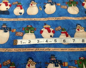 Warmth and Wooliness Fabric by Lori Gardener for Moda Cute Primitive Blue Snowman Fabric