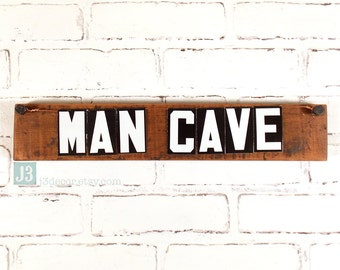 MAN CAVE Sign, Shelf Plaque, Reclaimed Barn Wood, Repurposed Vintage Tin Letters, Wall Hanger, Rustic Den Decor, Weathered Brown Stained