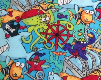 Fish, crab, shark, starfish, under the sea Flannel fabric, fabric by the yard, craft fabric, quilting fabric, baby blanket fabric