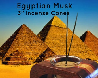 Cone Incense, Egyptian Musk, Incense Cones, 3 inch Wood Cones, Fresh Incense, Hand made Incense, Pack of 15 Cones