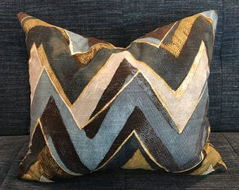 IN STOCK / Brown, Grey and  Blue Chevron Pillow Covers/ Designer Robert Allen fabric