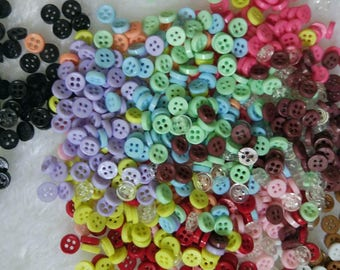 100pcs 4mm Tiny resin Round Buttons for Baby/Babydoll Clothing colorful