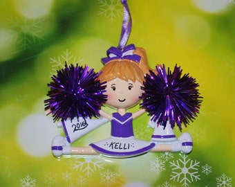 Personalized Purple & White Cheerleader Christmas Ornament