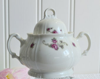 Lidded sugar bowl, vintage porcelain dish , candy bowl, off white chinaware, art deco, rose pattern