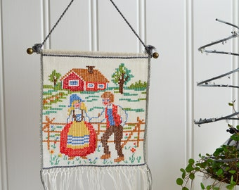 Small wallhanging embroidery , vintage Swedish cross stitch , ready to hang, red cottage