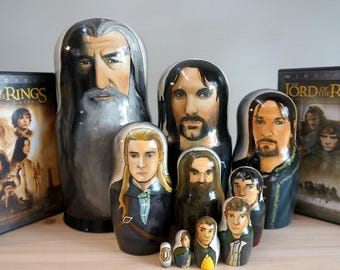 Set of Ten Lord of the Rings Hand Painted Russian Matryoshka Art Nesting Dolls